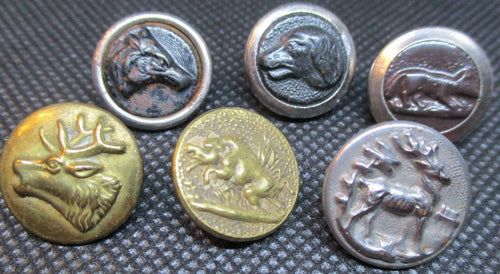 Buttons - Edwardian - Metal - Fox - Hound - Horse - Stag - Bird - Elk