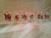 Italian Cordial Cups with Hunt Scenes and Gold Rims