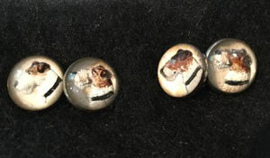 Cuff Links Fox Terrier Reverse Painted Crystal Silver Plate Frames Vintage