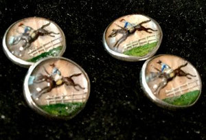 Cuff Links Sterling Silver Reverse Carved and Painted Crystal Jockey Racing