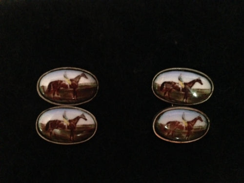 Cuff Links - Sterling Silver Horse and Rider Porcelain Cuff Links