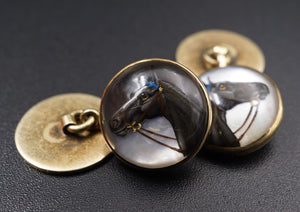 Cuff Links - 14kt Yellow Gold - Reverse Intaglio Horse Heads - Vintage 1930