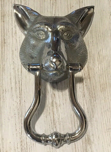 Door Knocker Chrome Fox Mask Form Substantial Weight and Size