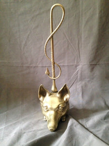 English Solid Brass Victorian to Edwardian Fox Form Door Stop