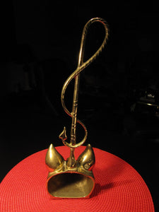 Door Porter - Doorstop - Brass Fox Head and Whip Form - Virginia Metal Crafters