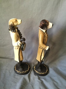 Figurines Fox Hounds Dressed in 18th Century Frock Coats Form