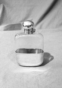 Flask Sheffield Sterling Silver and Glass George V Era  c. 1924