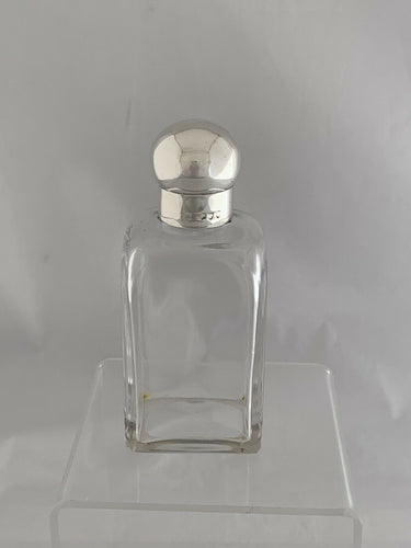 Flask Ladies Victorian Sandwich Case Flask Sterling Silver Cap and Collar