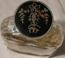 Flask Sterling Silver Inlaid Bayonet Cap Beveled Glass England Antique