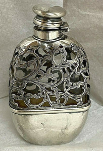 Flask Sterling Silver and Glass Victorian Era