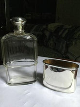 Flask Antique Sterling Beveled Glass Birmingham England Hallmarked