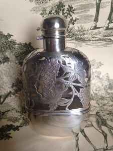 Flask - Sterling Silver and Crystal - Ladies - Removable Cup