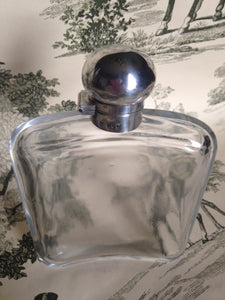 Flask - Sterling Silver and Glass - Edwardian Period - English Gentleman's Hip Flask c. 1909