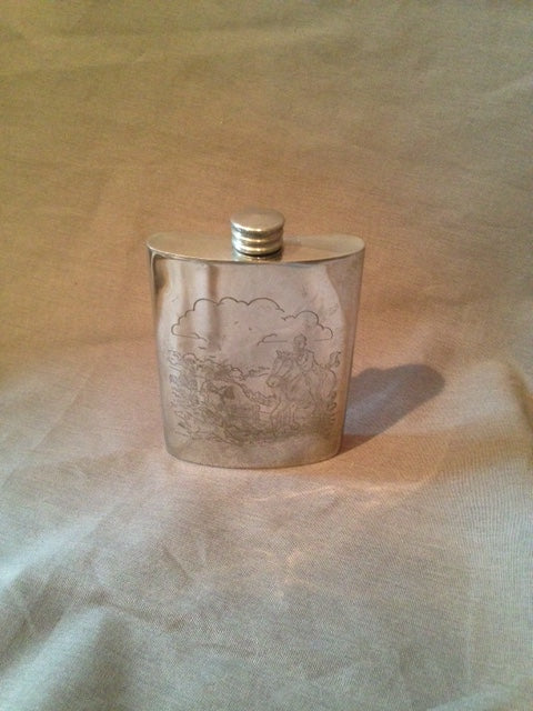 Flask - Pewter - Engraved Hunt Scene - 6 oz - Marked TML - Made in England