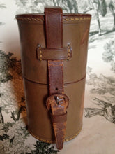 Flasks - English Double Half Glass Flasks in Brown Leather Round Carrier