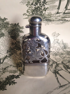 Flask Sterling Silver and Glass Ladies Victorian
