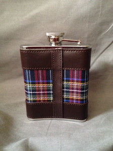 Flask - Bark Bay - Stainless Steel - Leather - Blue Plaid Fabric - Engravable