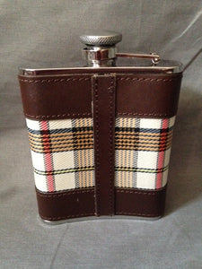 Flask - Bark Bay - Stainless Steel - Oatmeal Plaid - Leather Stitched - Bayonet Cap