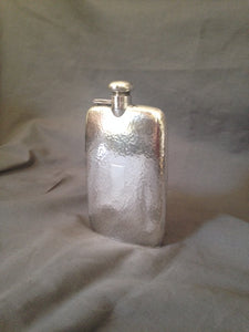 Flask - Sterling Silver - Art Deco Hammered Hip Flask