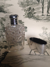 Flask - Vintage Sterling Hobnail Cut Glass Ladies Flask with Removable Silver Cup