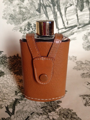 Flask - Small Glass and Metal Flask in a Leather Snap Closure Cover