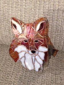 Stained Glass Red Fox Mask Sun Catcher