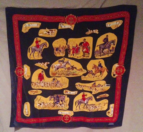 Scarf Le Chase French Hunt Scenes Silk