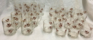 Glasses Vintage Fox Mask and Brush Barware Collection