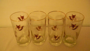 Glassware Set of Four Fox Mask and Brush High Ball Glasses Vintage
