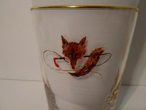 Glasses Fox Mask and Whip Design 16 oz Set of Four