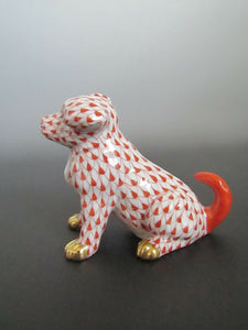 Herend Sitting Puppy Rust Fishnet with Gold Paws