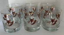 Glasses - Old Fashioned with Fox Mask and Brush and Whip - Set of Six