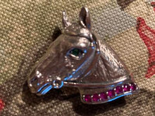 Brooch or Pendant Sterling Silver Horse Profile Form with Rubies and Emeralds