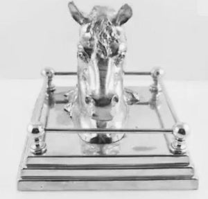 Ink Well - Vintage c. 1930 - Horse Head on Railed Base Form - Silver Wash