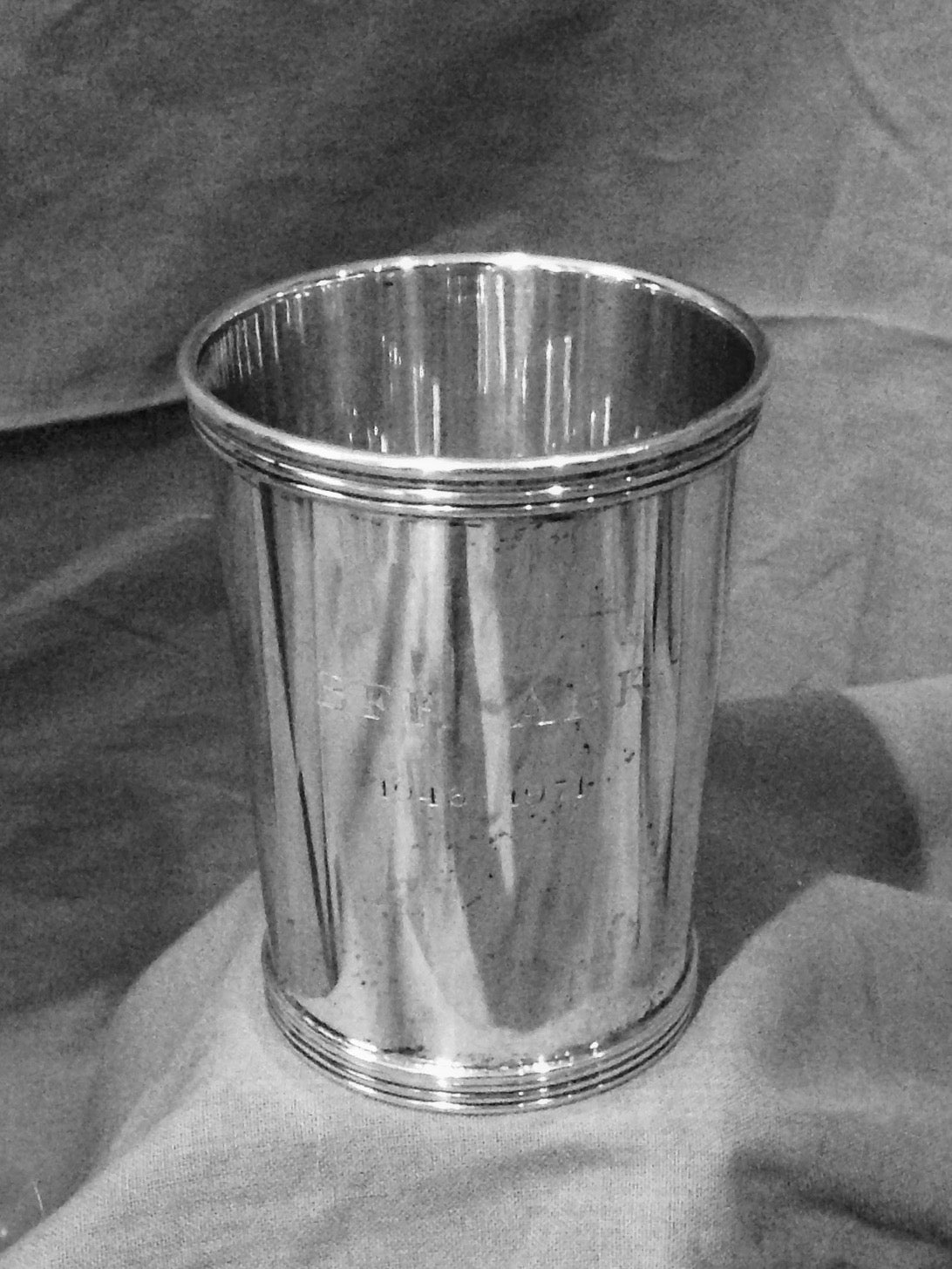 Mint Julep Cup - Sterling Silver - Banded Base - Engraved