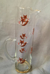 Pitcher Martini with Fox Masks and Brush and Whips Vintage