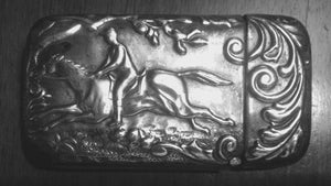 Vesta Case Silver Wash with Running Jockey Image Art Nouveau Period