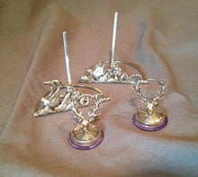 Place Card and Menu Holders Sterling Silver English Stag and Pheasant Edwardian