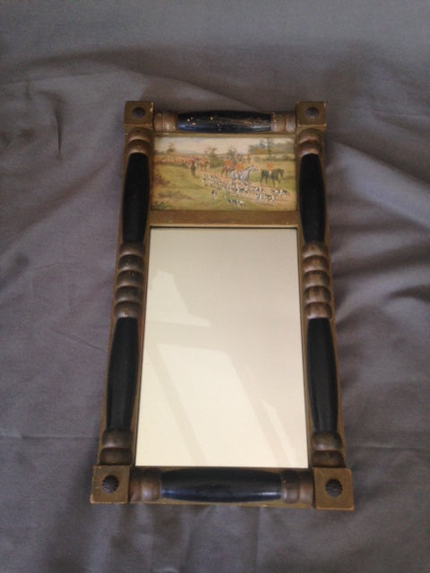 Mirror - Shabby Chic Retro Fox Hunting Scene - Ready to Hang