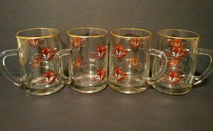 Mugs with Fox Mask and Whip Design and Gold Rims - Set of Four