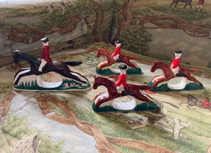 Napkin Rings Porcelain Hunt Scene Set of 4 Vintage