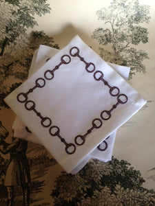 Embroidered Snaffle Bit Cocoa Cocktail Napkins set of 4