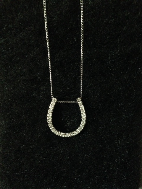 Necklace with Slide Horseshoe Form Pendant 14kt White Gold and Diamonds - Vintage