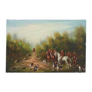 Art Original Painting - Hunt Scene - Oil by Listed Artist Johannes Cornelis Van Essen