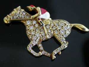 Pendant 18 kt Gold and Diamond Enamel Race Horse and Jockey Form Possibly Known Provenance