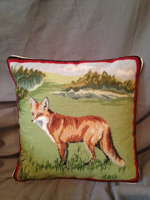 Pillow - Wool Needlepoint - Standing Fox in the Wild