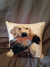 Pillow - Wool Needlepoint - Atta Girl - Labrador Retrieving a Pheasant