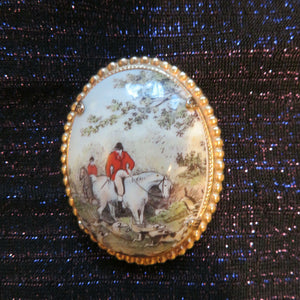 Pin Fox Hunt Scene With Lovely Beaded Gold Tone Frame