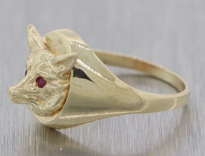 Ring - Vintage Estate Ladies 14kt Yellow Gold with Fox Mask
