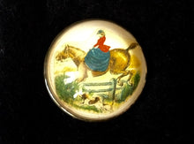 Pin Rosette Brass Pin Featuring a Sidesaddle Rider Taking a Hedge